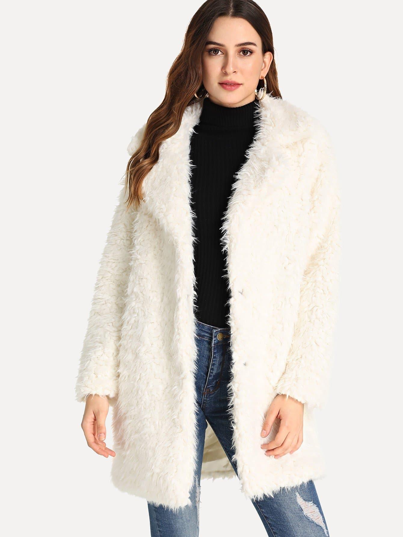 Купить Открытой передней тедди пальто из искусственного меха, Jana, SheIn