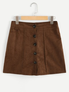 Button Up Front Solid Skirt