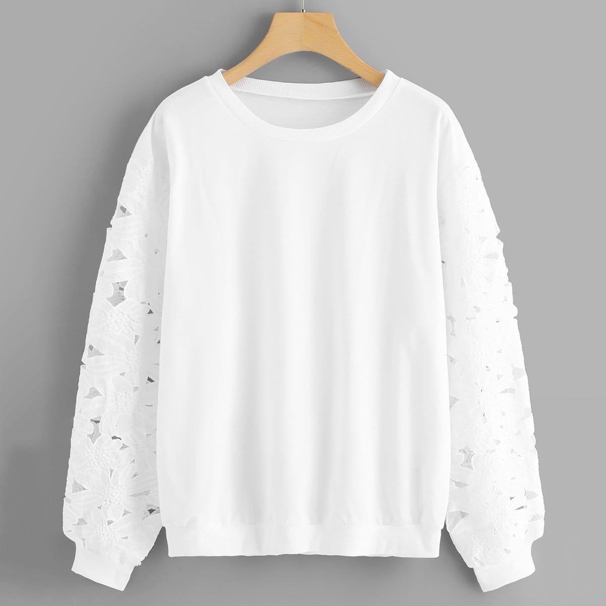 Sweatshirt met kanten mouwen