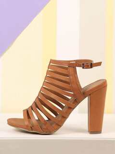 Faux Leather Strappy Heeled Sandals