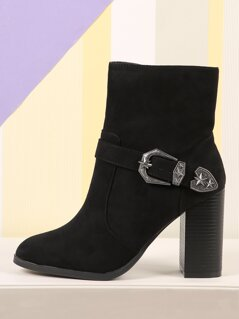 Faux Suede Western Style Buckle Boots