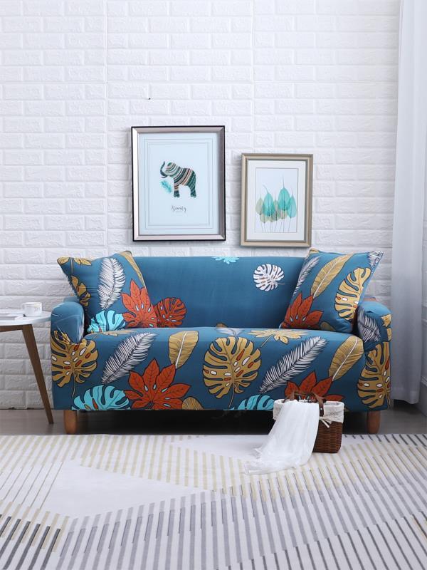 Купить Эластичный чехол для дивана с рисунками тропических листьев и чехол для подушки 1 шт, null, SheIn