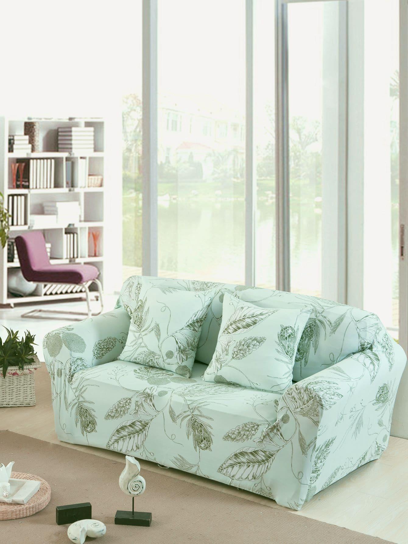 Купить Эластичный чехол для дивана с рисунками растений и чехол для подушки 1 шт, null, SheIn