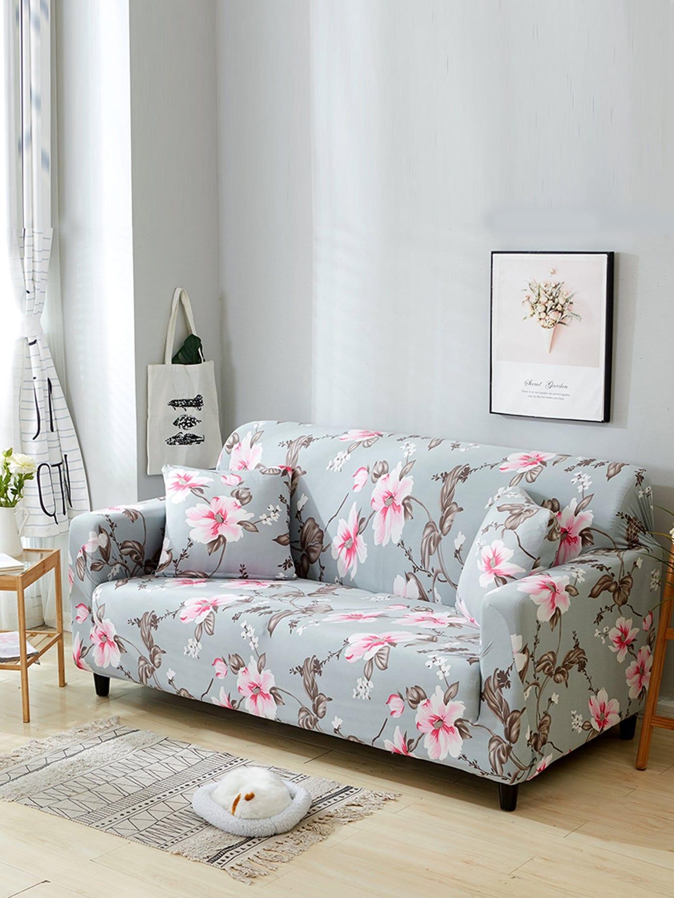 Купить Эластичный чехол для дивана с рисунками цветов и чехол для подушки 1 шт, null, SheIn