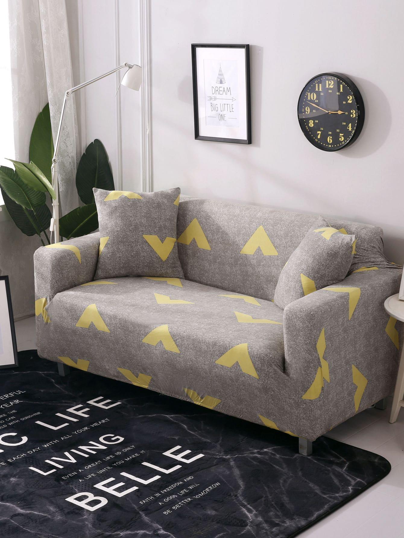 Эластичный чехол для дивана с рисунками геометрических фигур и чехол для подушки 1 шт, null, SheIn  - купить со скидкой