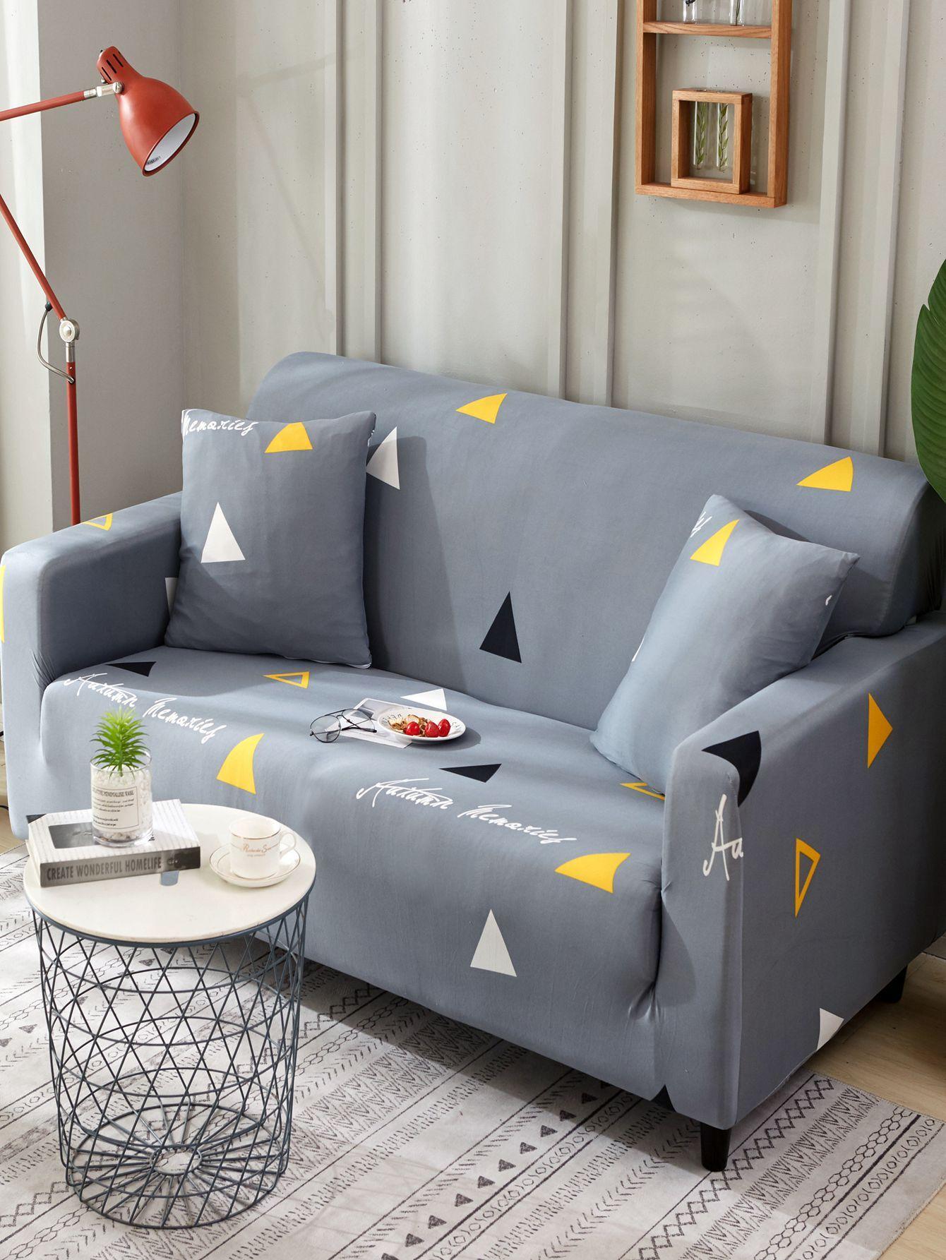 Купить Эластичный чехол для дивана с рисунками треуголиьников и чехол для подушки 1 шт, null, SheIn