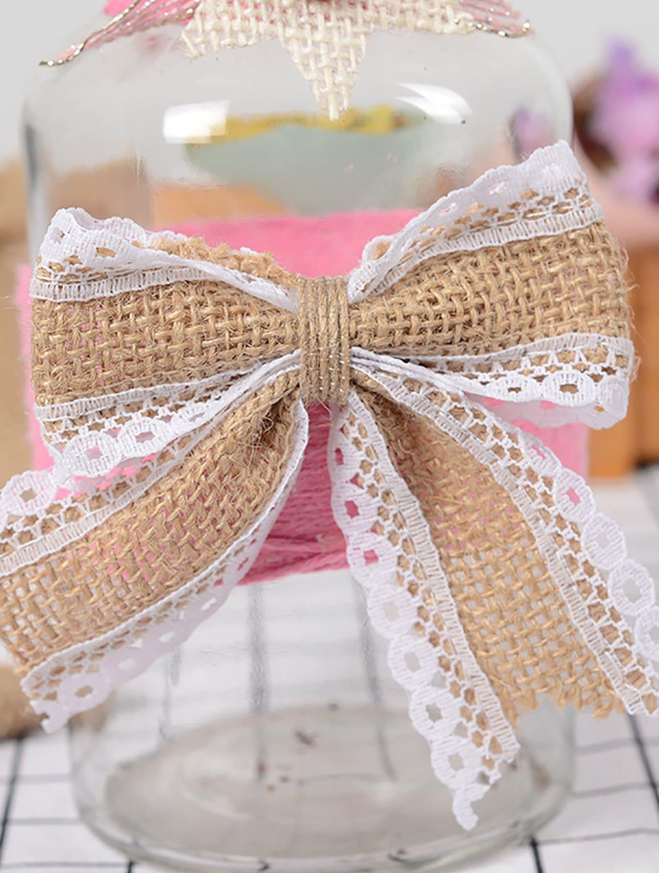 Lace Trim Burlap Bow