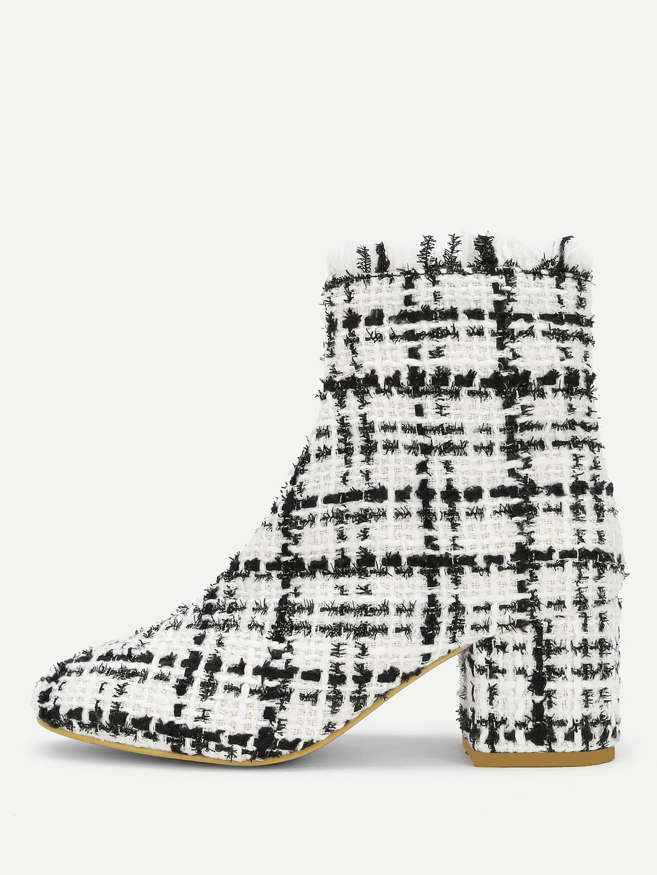 Side Zipper Tweed Ankle Boots