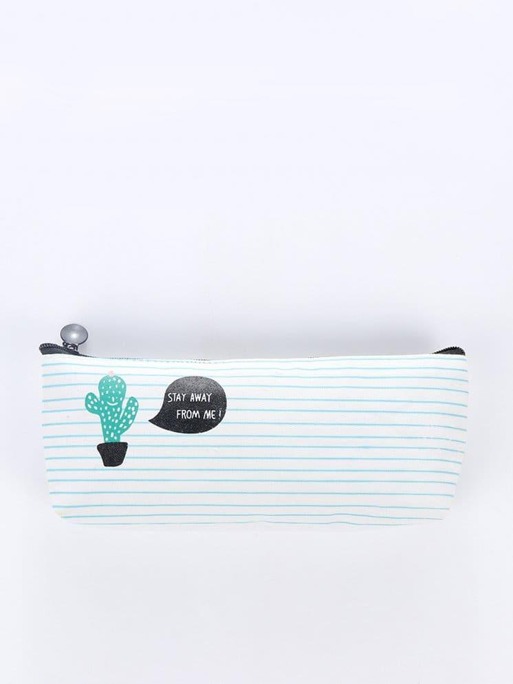 Купить Cactus Print Pencil Case, null, SheIn