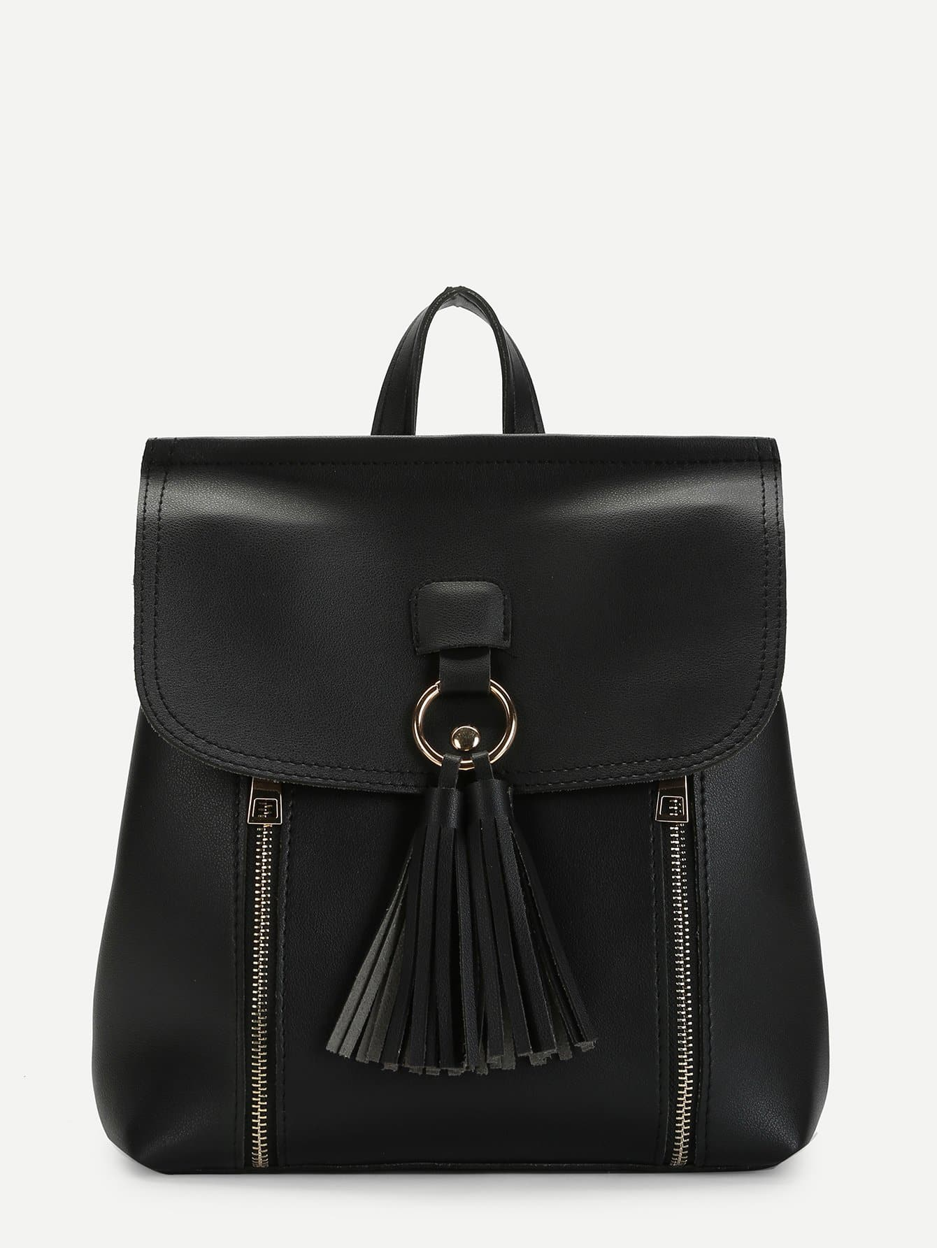 Zipper Front Tassel Detail PU Backpack