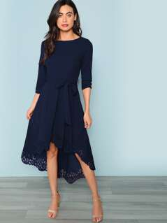 Laser Cut Dip Hem Dress with Belt