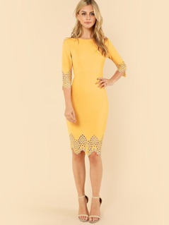 Laser Cut Zip Back Pencil Dress