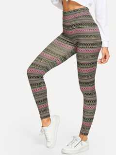 Geo Stripe Print Leggings