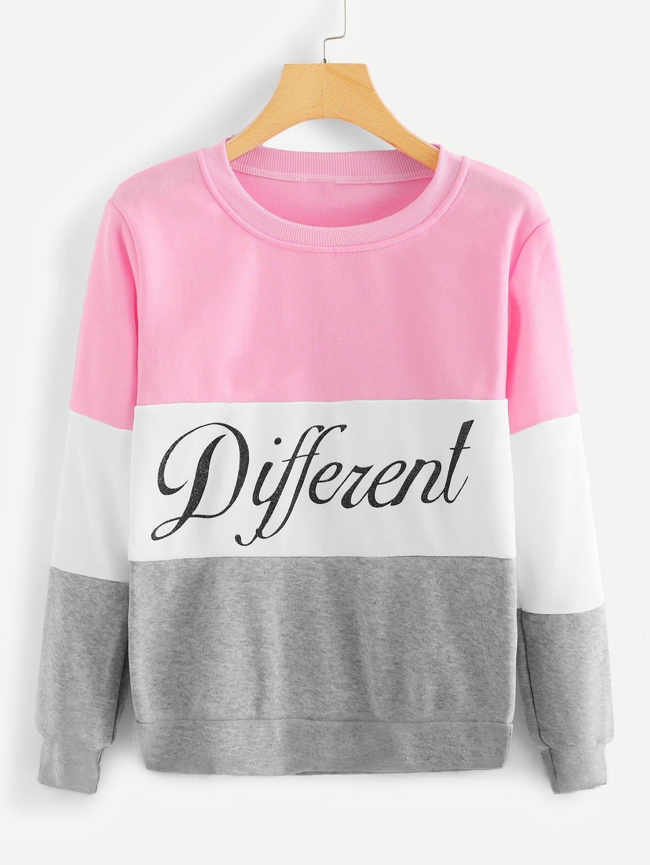 Купить Повседневный Текст Контрастный цвет Пуловеры Многоцветный Свитшоты, null, SheIn