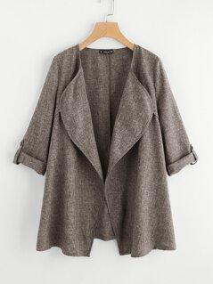 Rolled Up Cuff Drape Collar Marled Coat