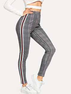 Waist Elastic Plaid Pants