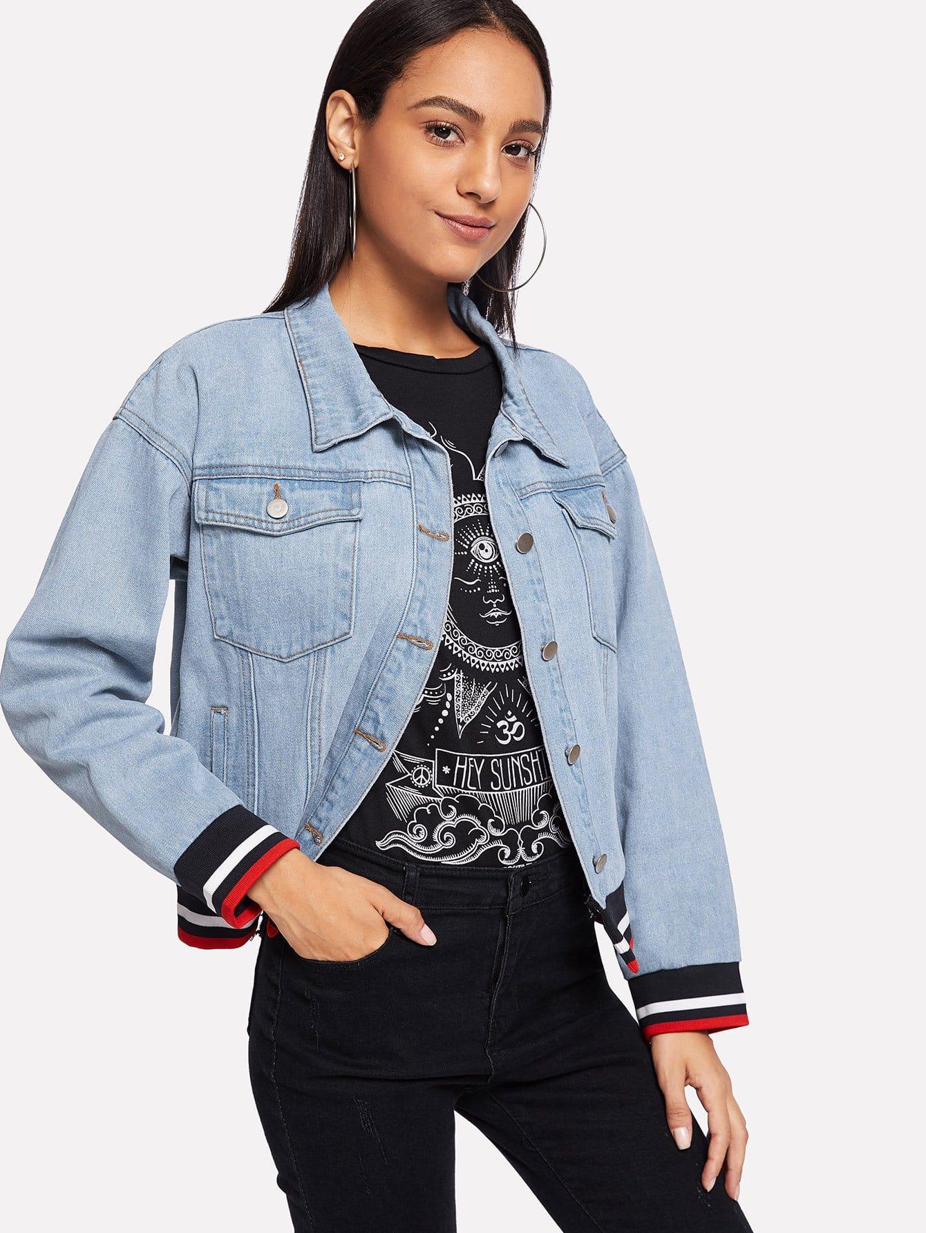 Джинсовая куртка с полосатым низом, Kary, SheIn  - купить со скидкой