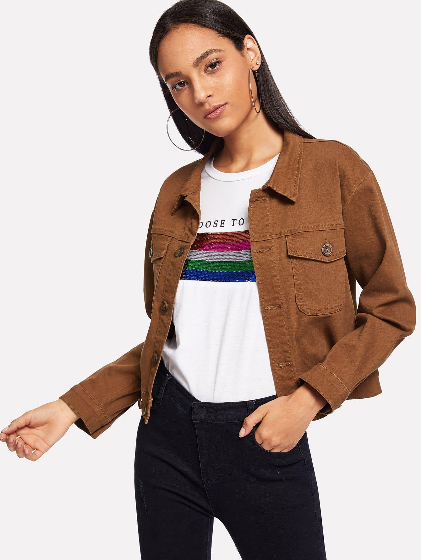 Купить Джинсовая куртка спереди карман, Kary, SheIn