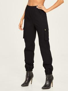 Elastic Waist and Hem Utility Pants