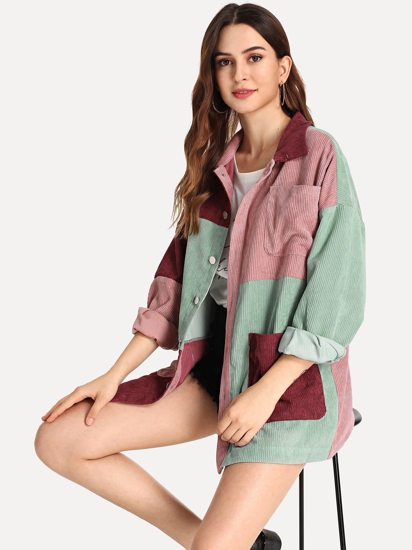 Купить Кроить и шить вельветовое пальто с карманом, Jana, SheIn