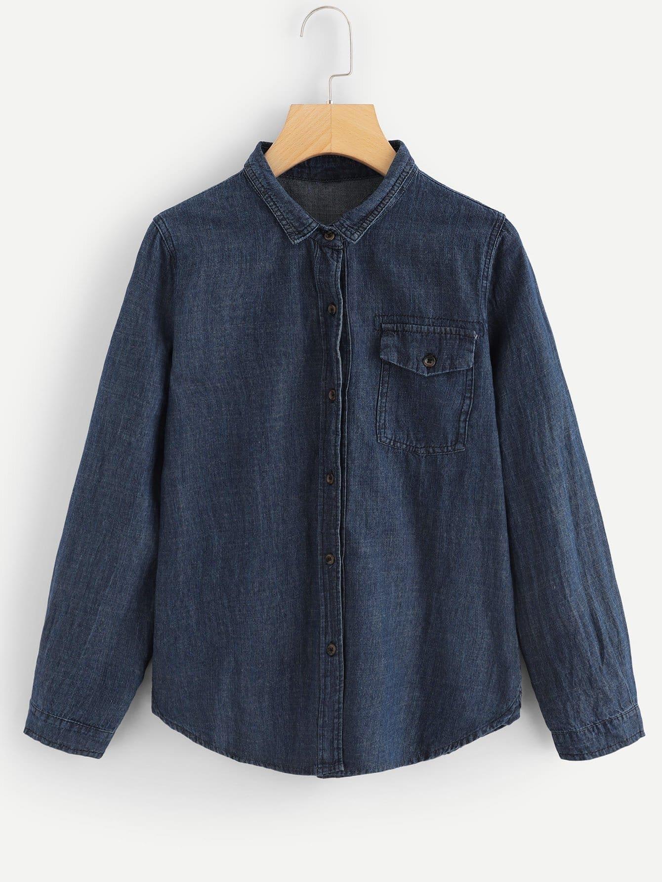 Купить Простая джинсовая футболка с украшением пуговицы, null, SheIn