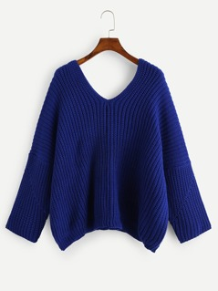 Double V Neck Solid Sweater