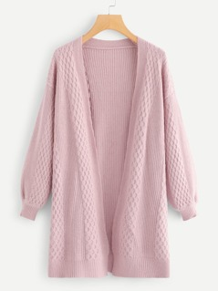 Bishop Sleeve Open Front Longline Cardigan
