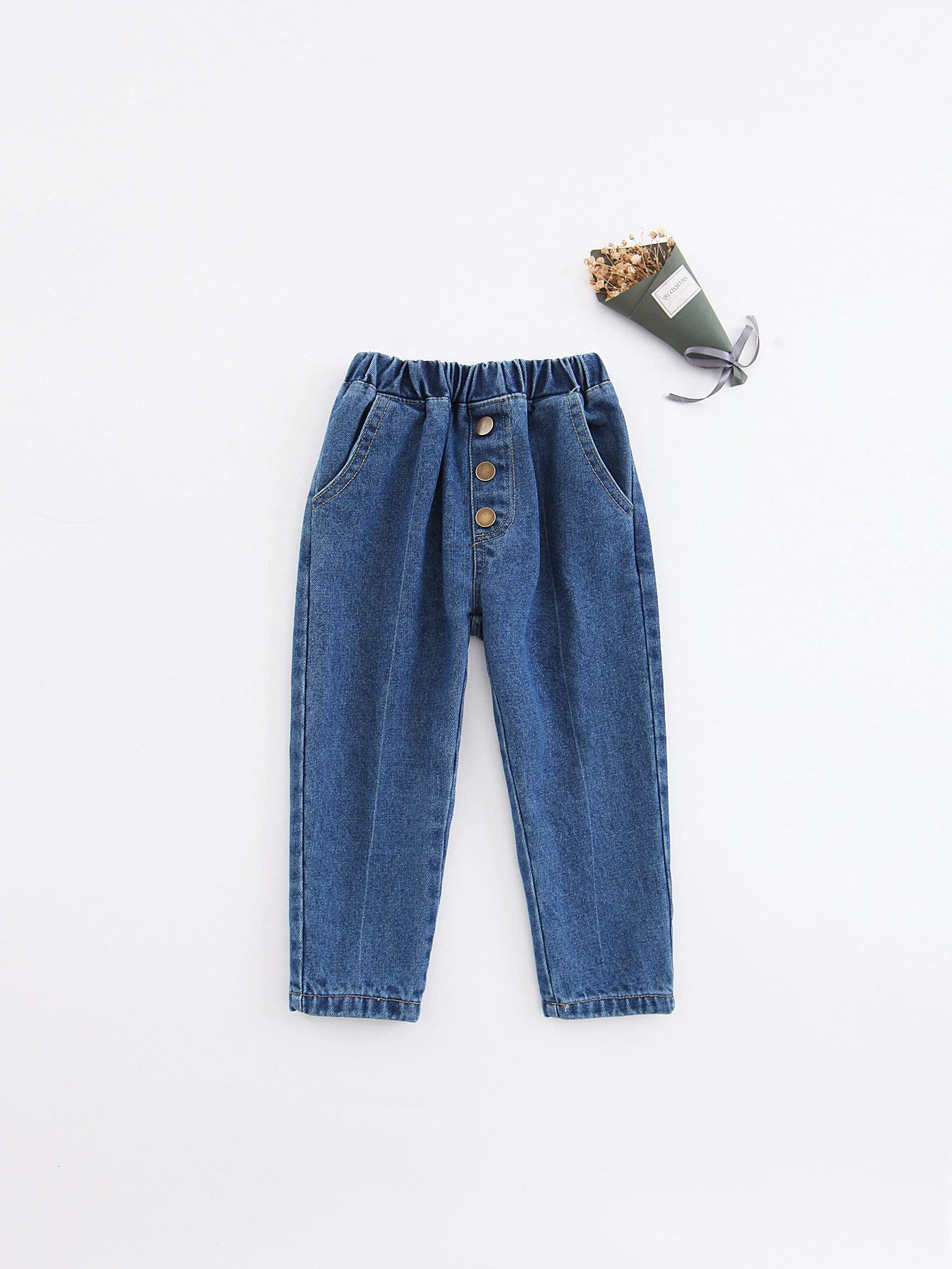 Girls Button Detail Solid Jeans