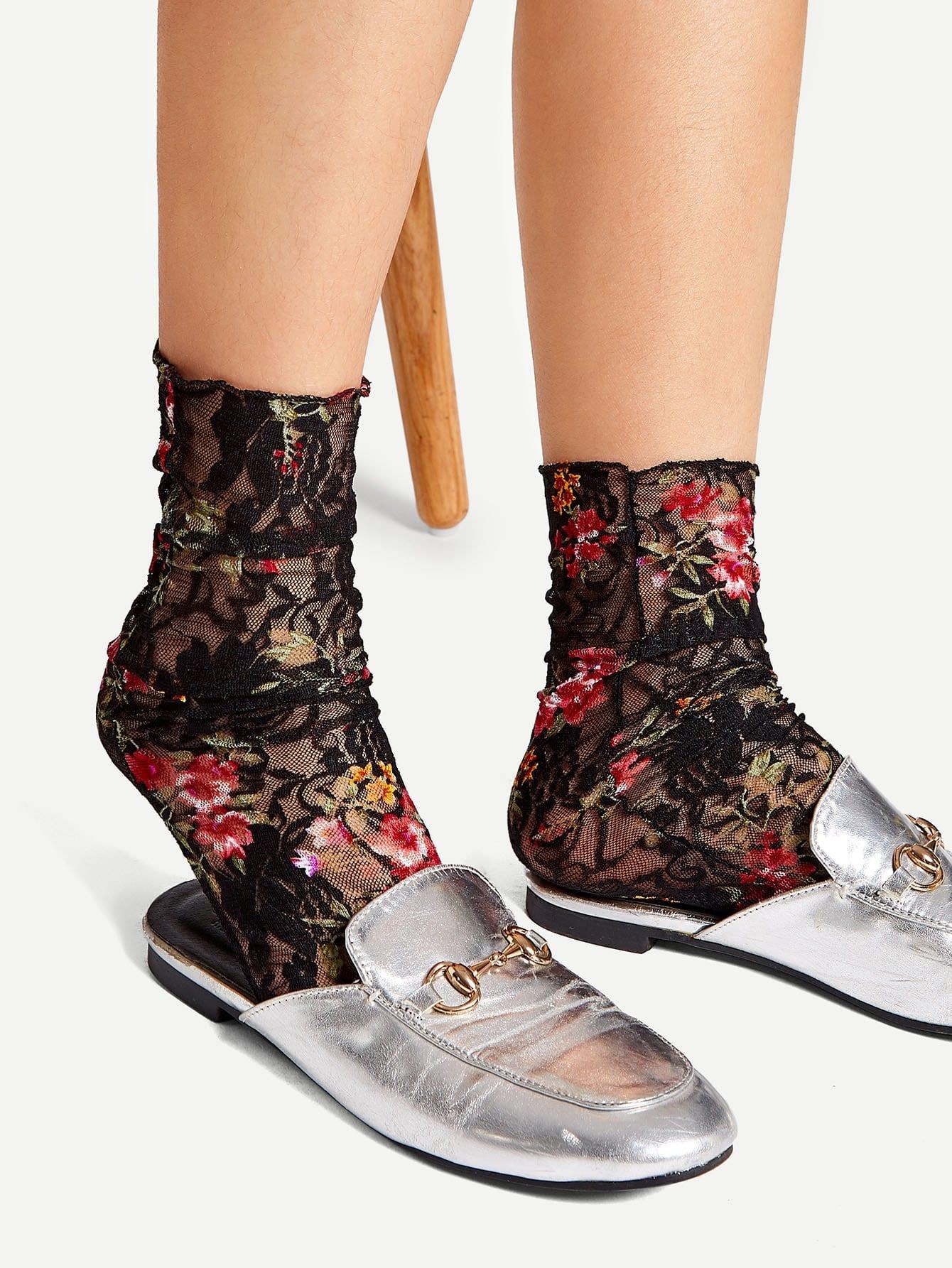 1 пара носки с цветочным принтом