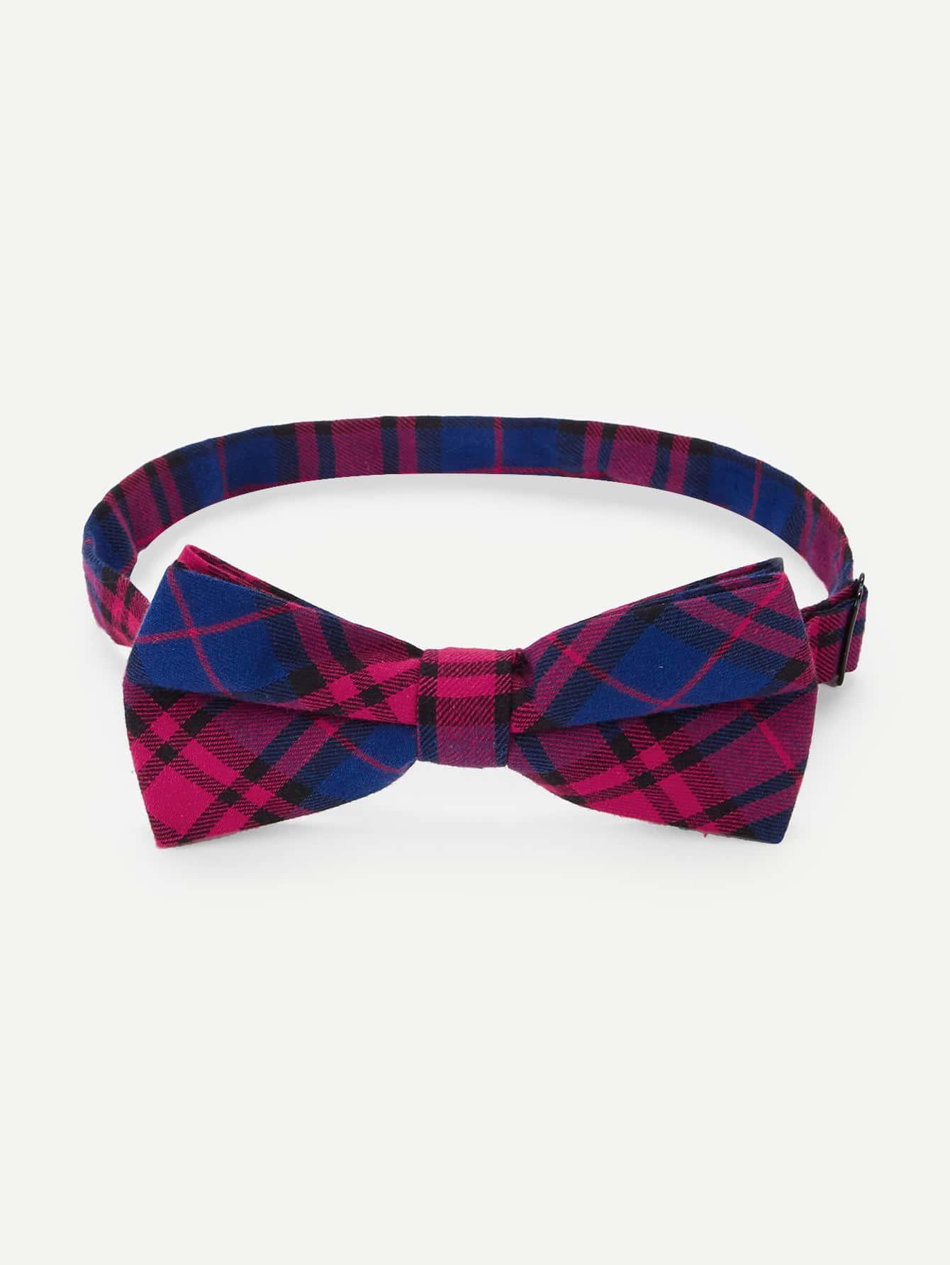 Men Plaid Bow Tie