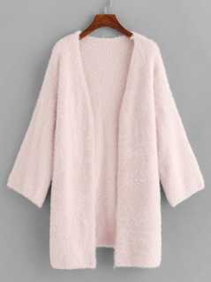 Split Side Open Placket Fuzzy Cardigan