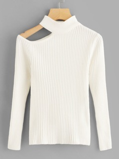 Cut Out Shoulder Rib Sweater