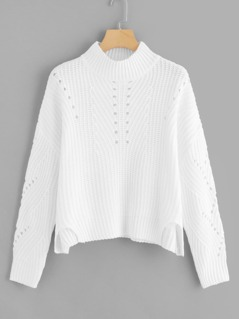 Mock Neck Cut Out Detail Sweater