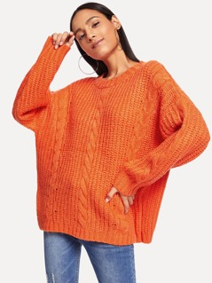 Dolman Sleeve Solid Cable Rib Jumper
