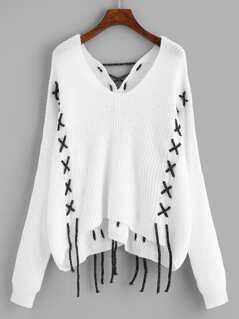 Drop Shoulder Lace-Up Detail Sweater