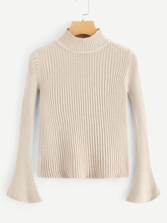 Mock Neck Bell Sleeve Slim Fit Sweater