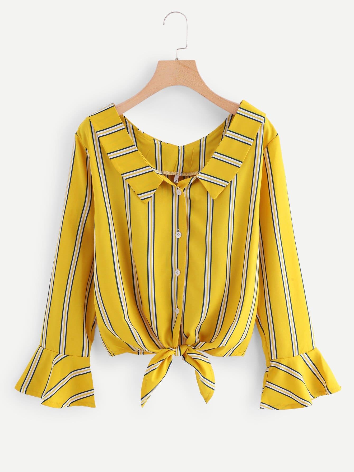 Bluse mit Schößchensaum auf den Ärmeln, Knoten und Streifen