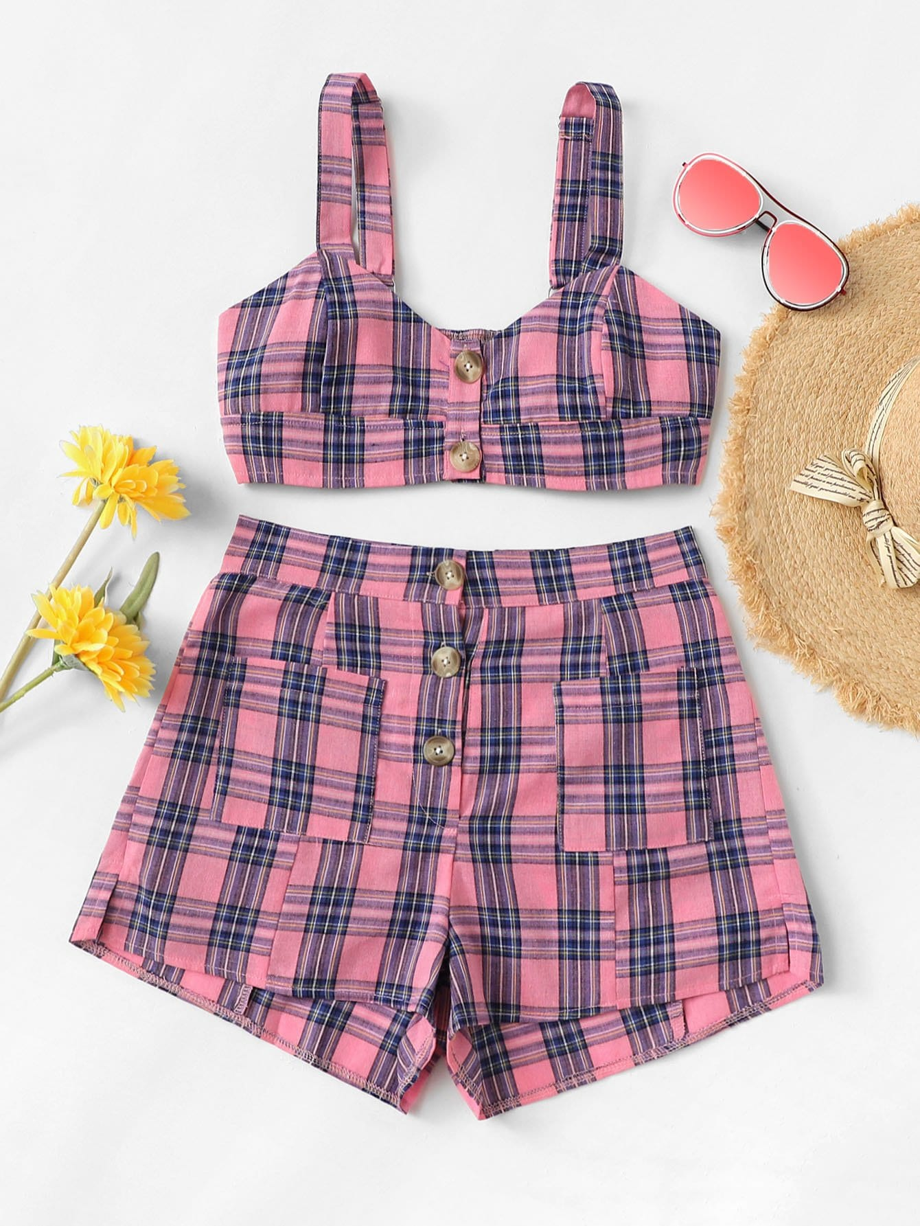 Button Front Tartan Plaid Crop Top With Shorts