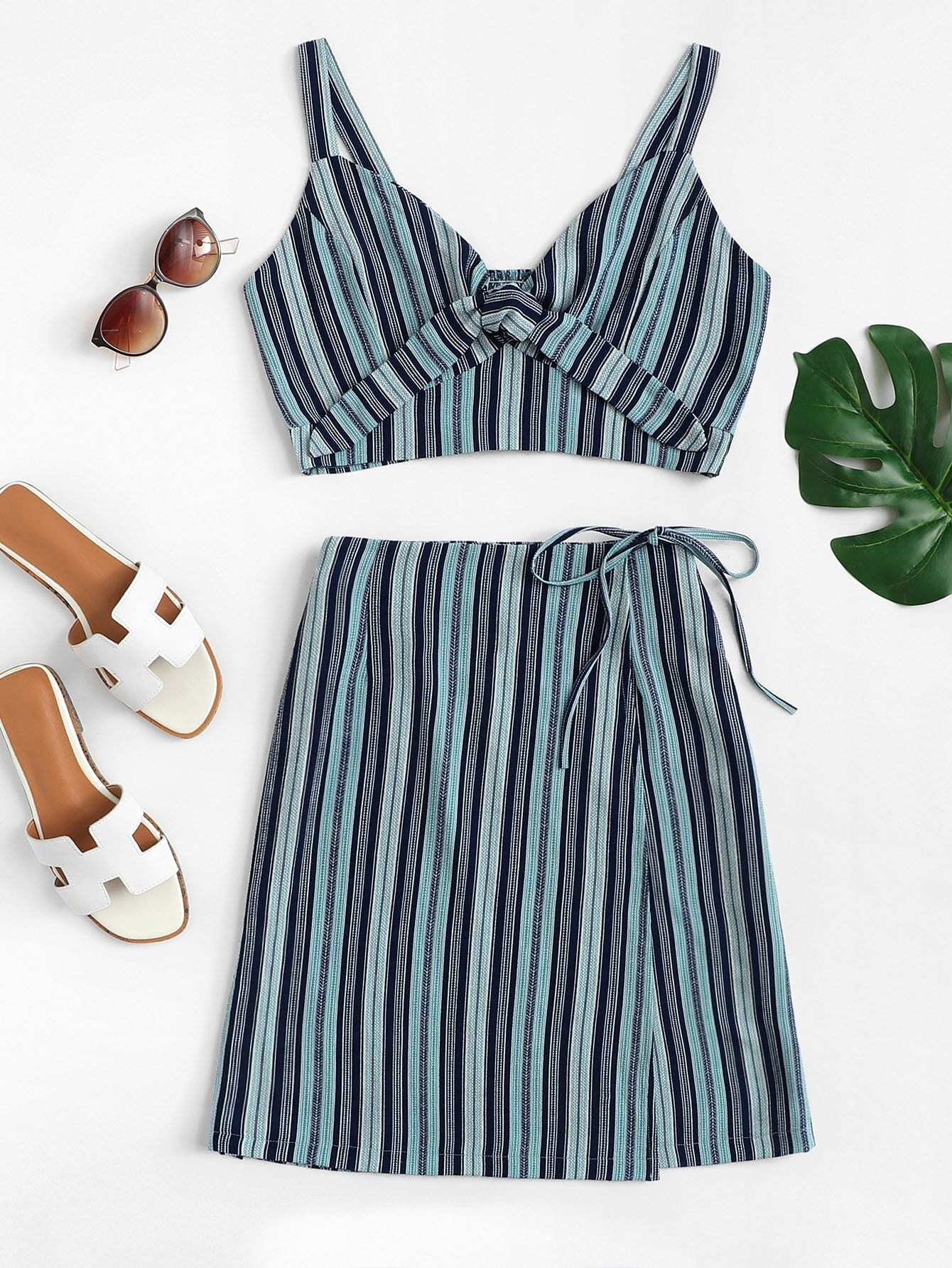 Stripe Knot Detail Crop Top With Wrap Skirt