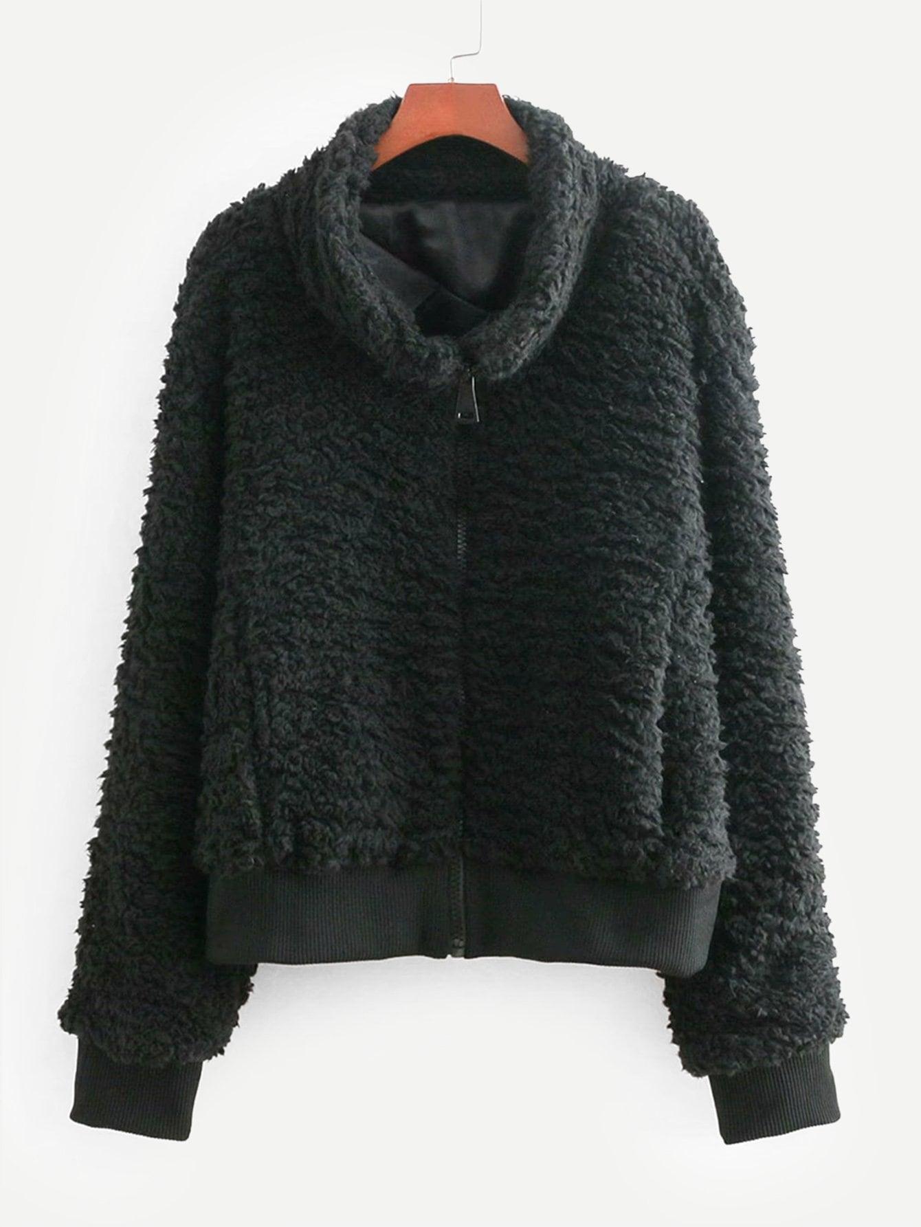 Купить Тедди куртка из искусственных шелков и с застёжкой молния, null, SheIn