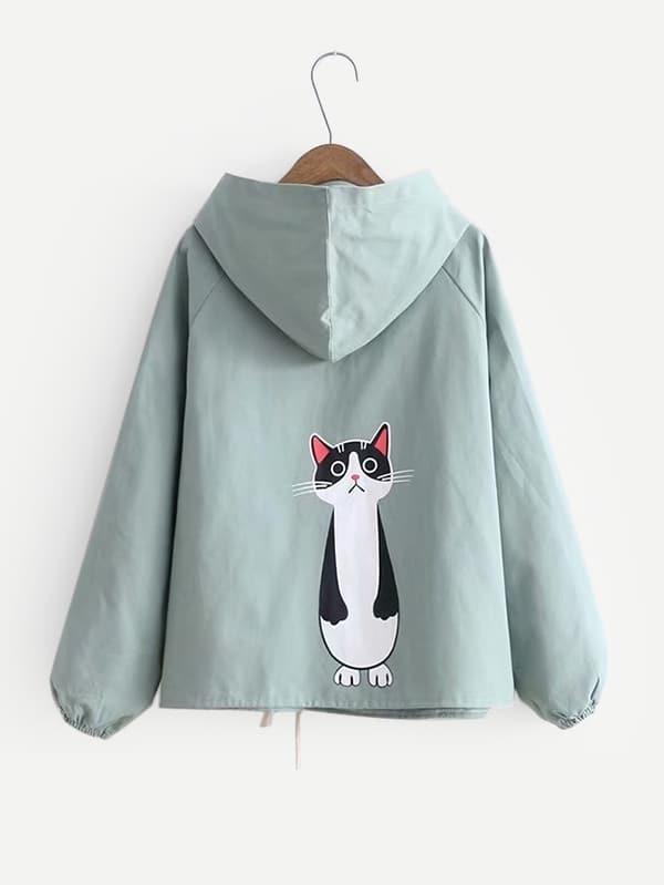 Купить Ветровка с капюшоном и рукав-регланами и с рисунком кота, null, SheIn