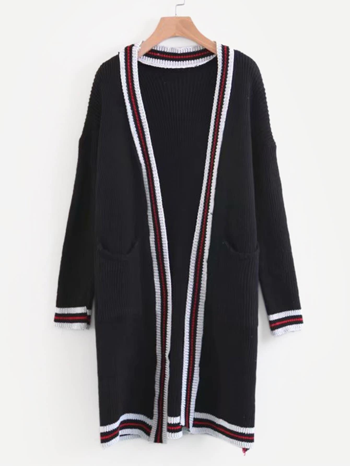 Contrast Stripe Trim Drop Shoulder Cardigan crystal lux бра crystal lux joy ap1
