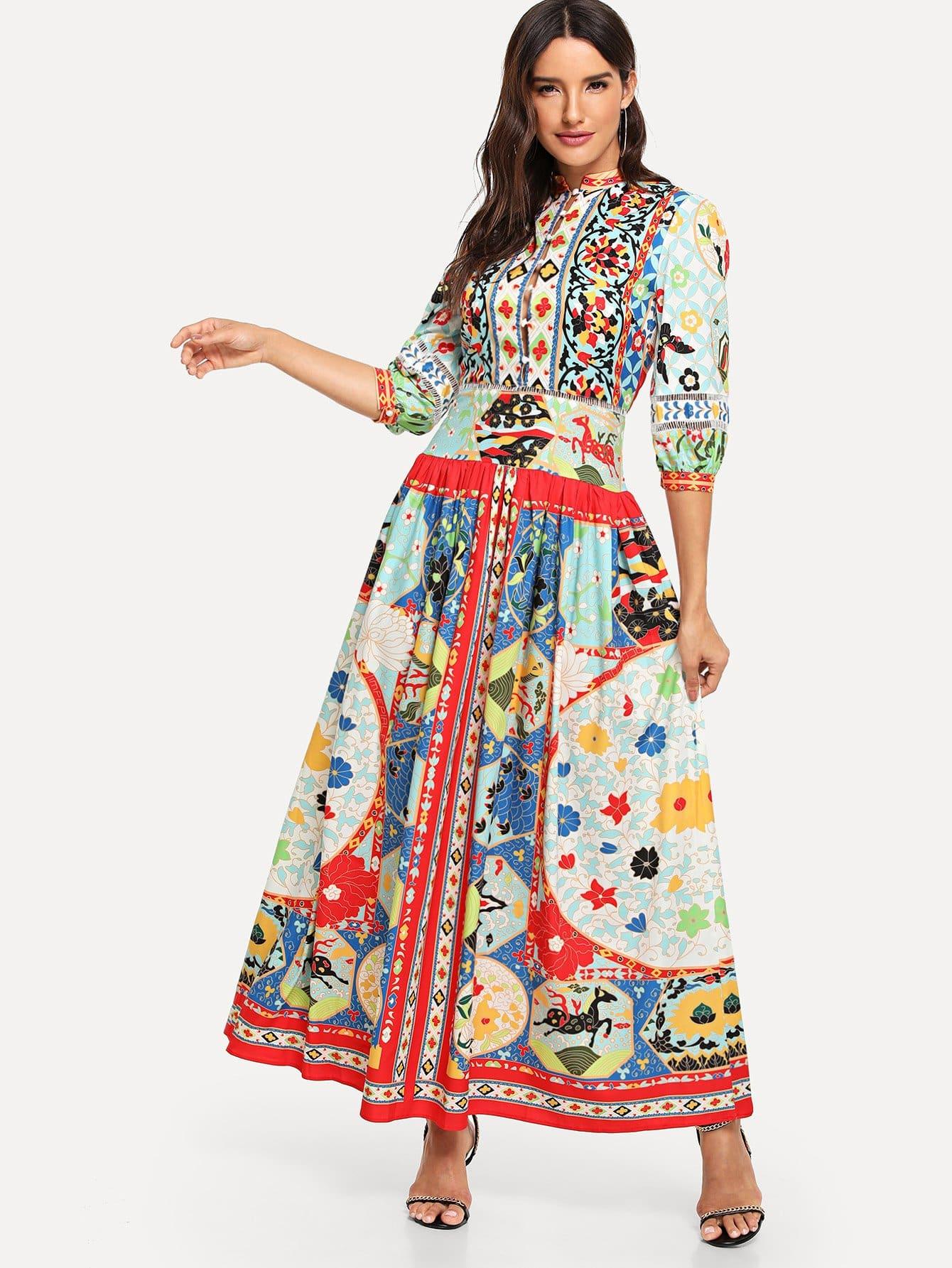 Купить Graffiti Pattern Longline Shirt Dress