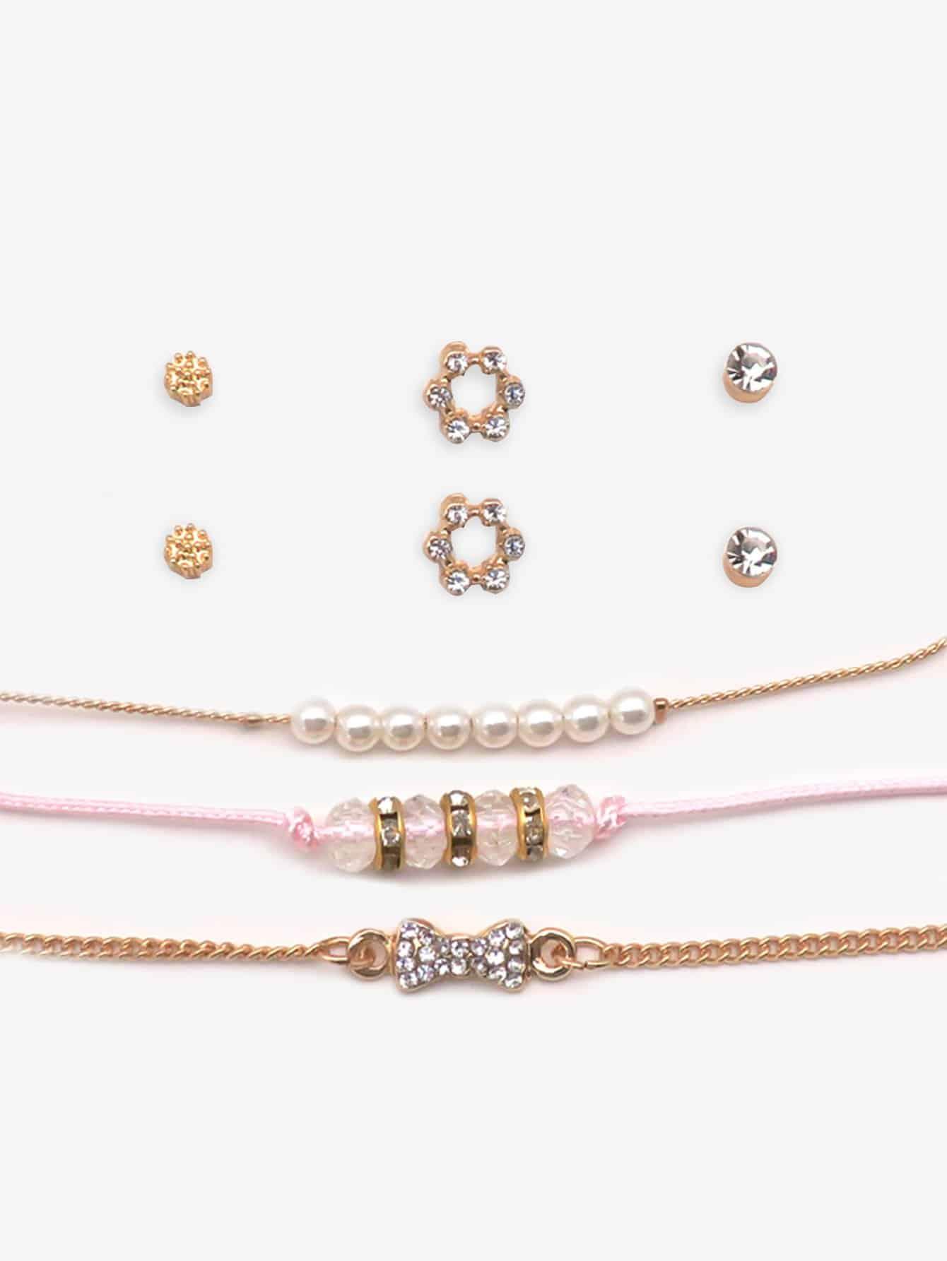 Armband mit Perlen 3PCs und Ohrringe 3Paare