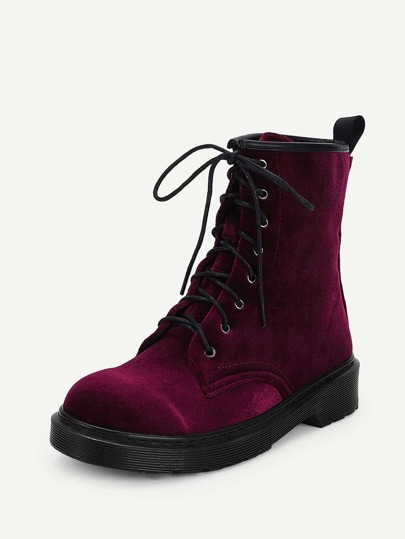 Romwe / Lace-Up Plain Boots
