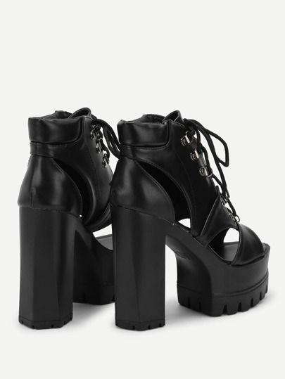 Romwe / Lace-Up Cut Out Heels