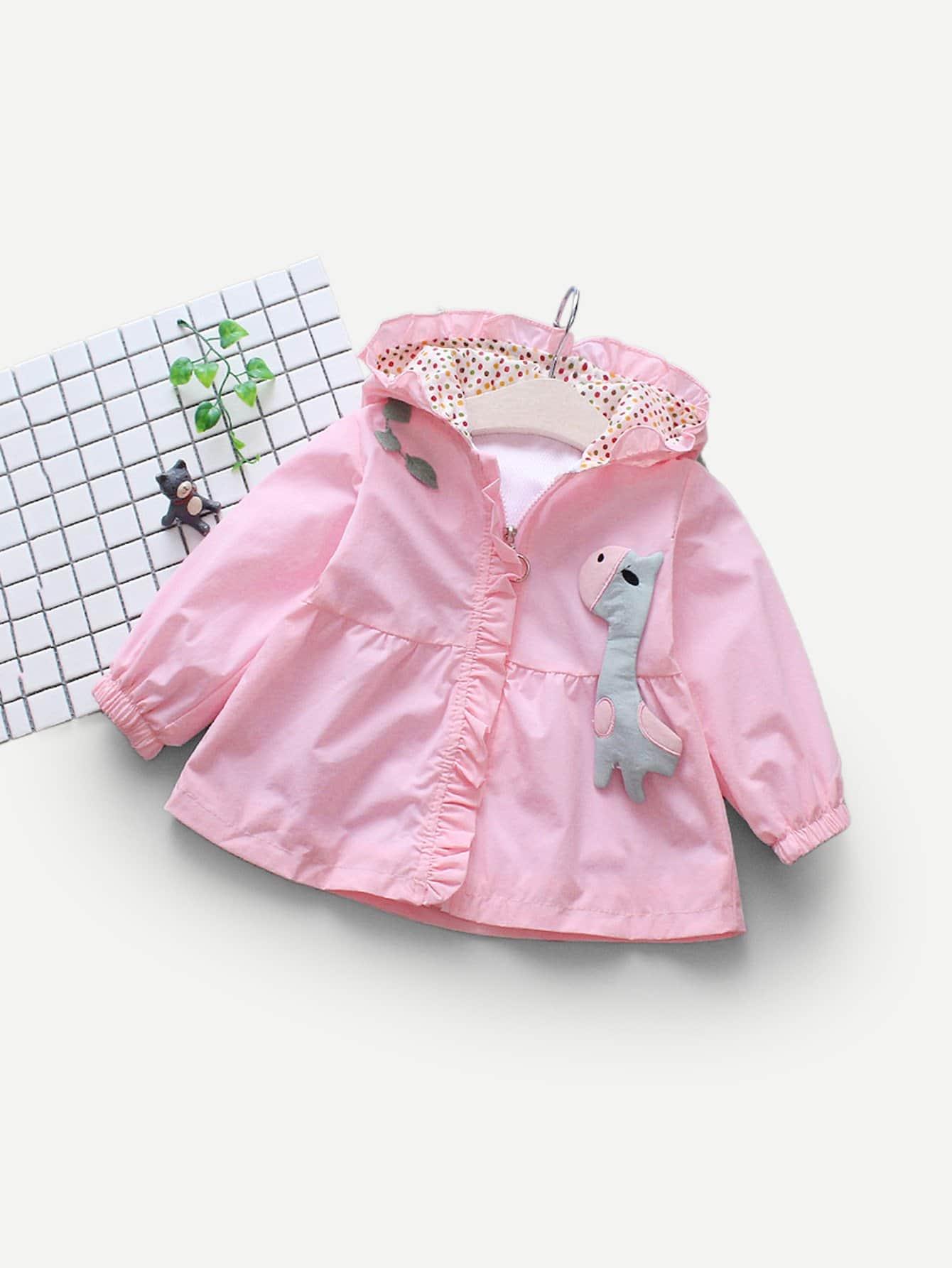 Купить Куртка с украшением заплаты и с кружевными оборками для девочки, null, SheIn