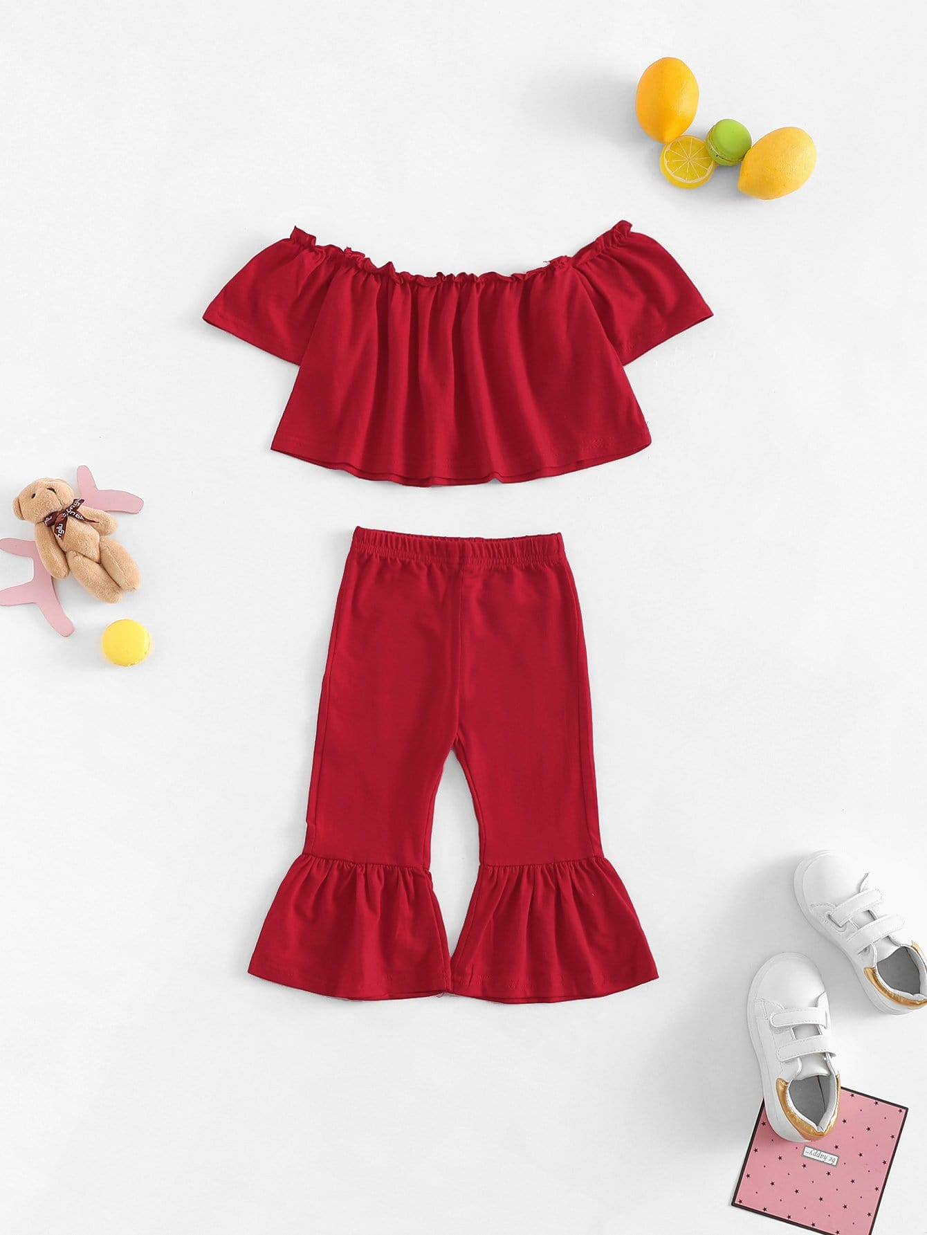 Girls Off Shoulder Solid Top With Flare Leg Pants