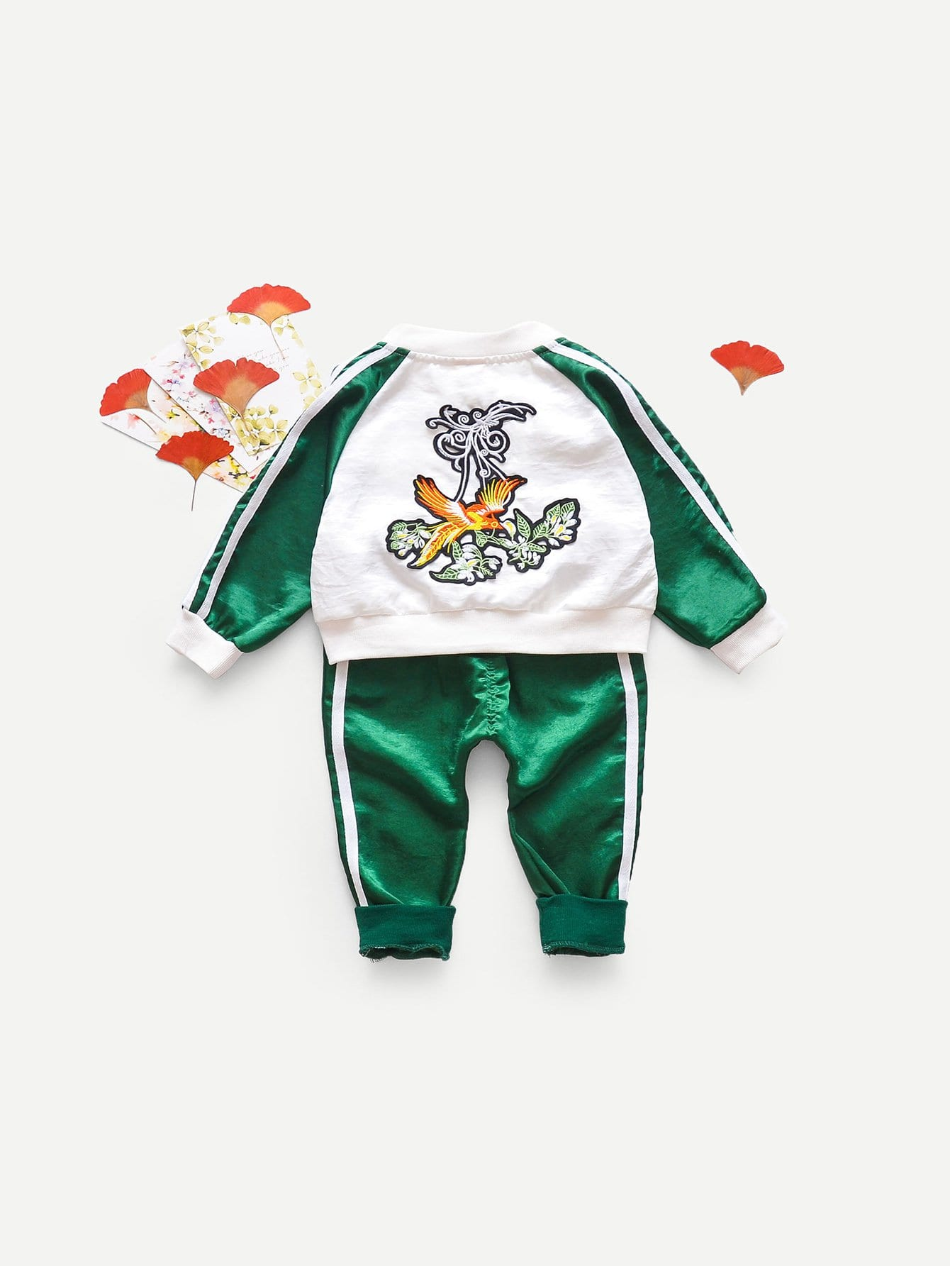 Boys Contrast Tape Side Embroidered Jacket With Pants