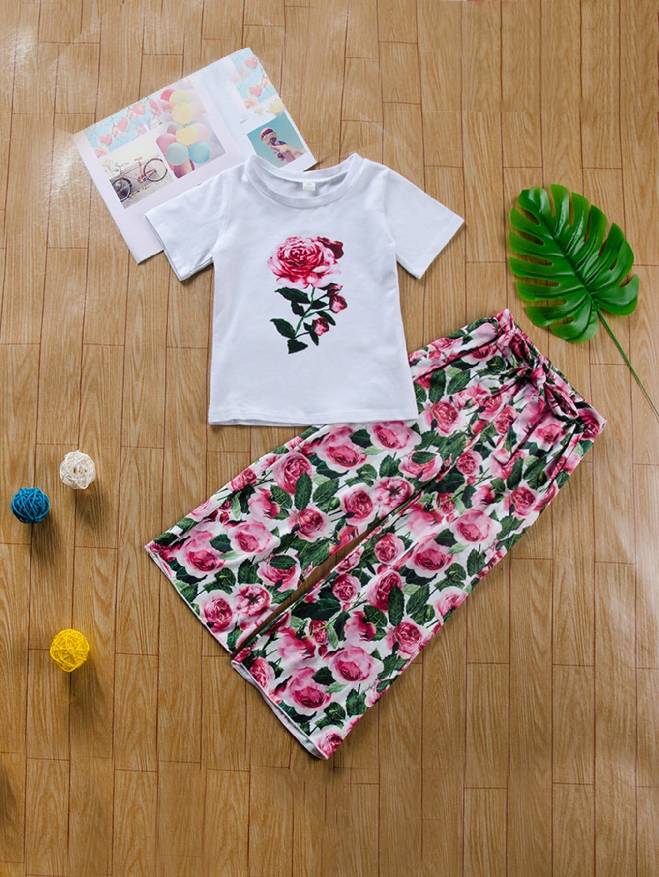 Girls Rose Print Tee With Pants